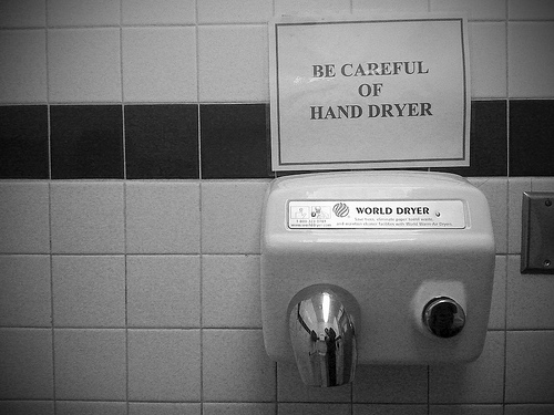 [Killer Hand Dryer, Eugene, Oregon.]