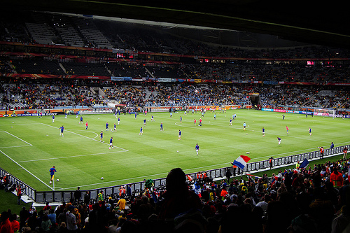 [Group A encounter, Uruguay vs. France at Cape Town Stadium.]