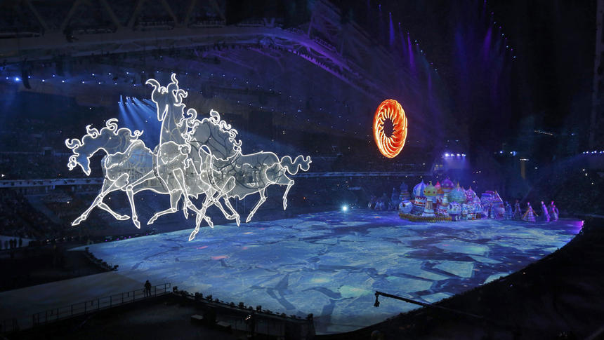 Giant horses are seen during the opening ceremony of the 2014 Sochi Winter Olympics